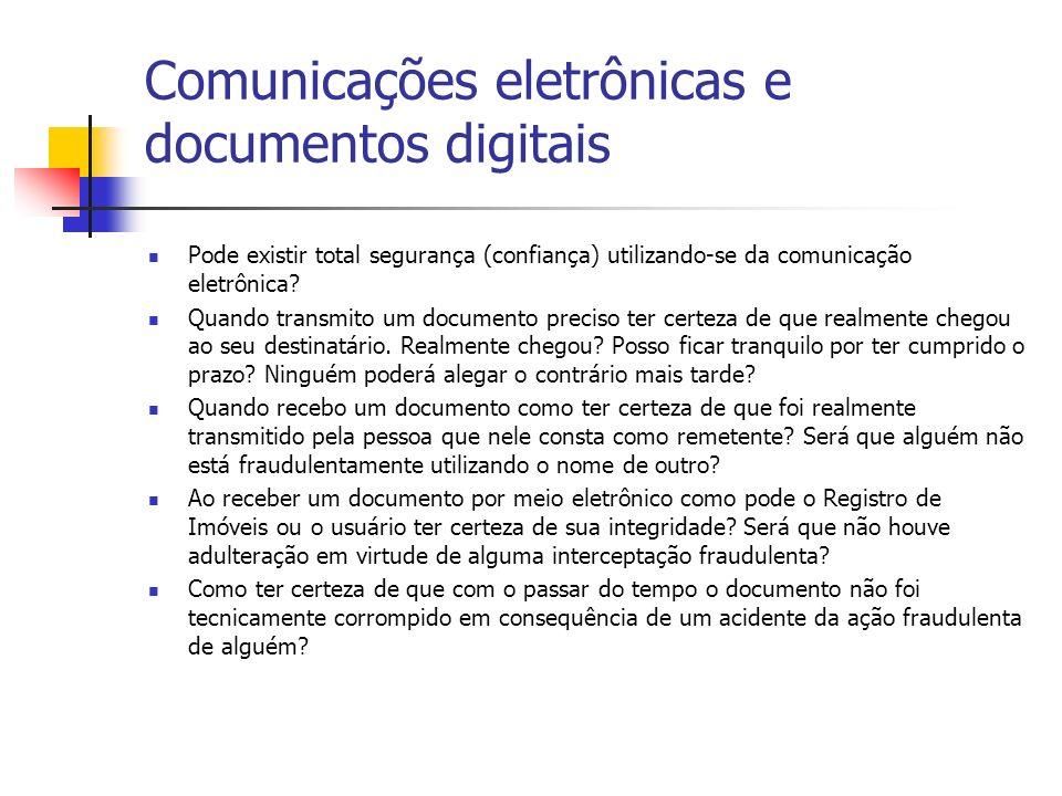 Comunicações eletrônicas e documentos digitais Pode existir total segurança (confiança) utilizando-se da comunicação eletrônica? Quando transmito um d