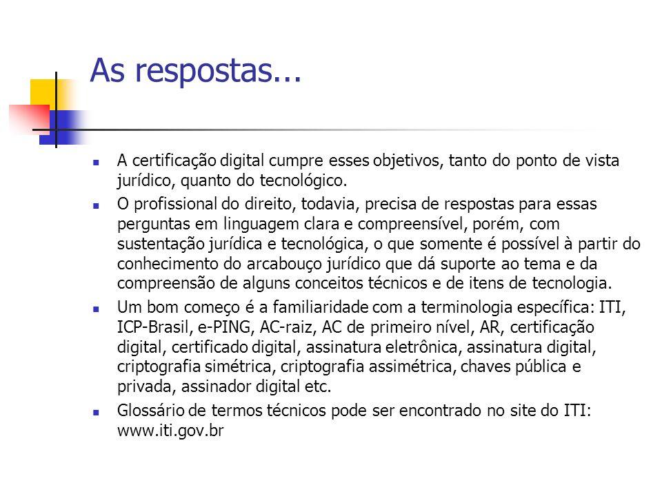 As respostas... A certificação digital cumpre esses objetivos, tanto do ponto de vista jurídico, quanto do tecnológico. O profissional do direito, tod
