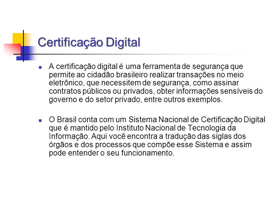 Certificação Digital A certificação digital é uma ferramenta de segurança que permite ao cidadão brasileiro realizar transações no meio eletrônico, qu