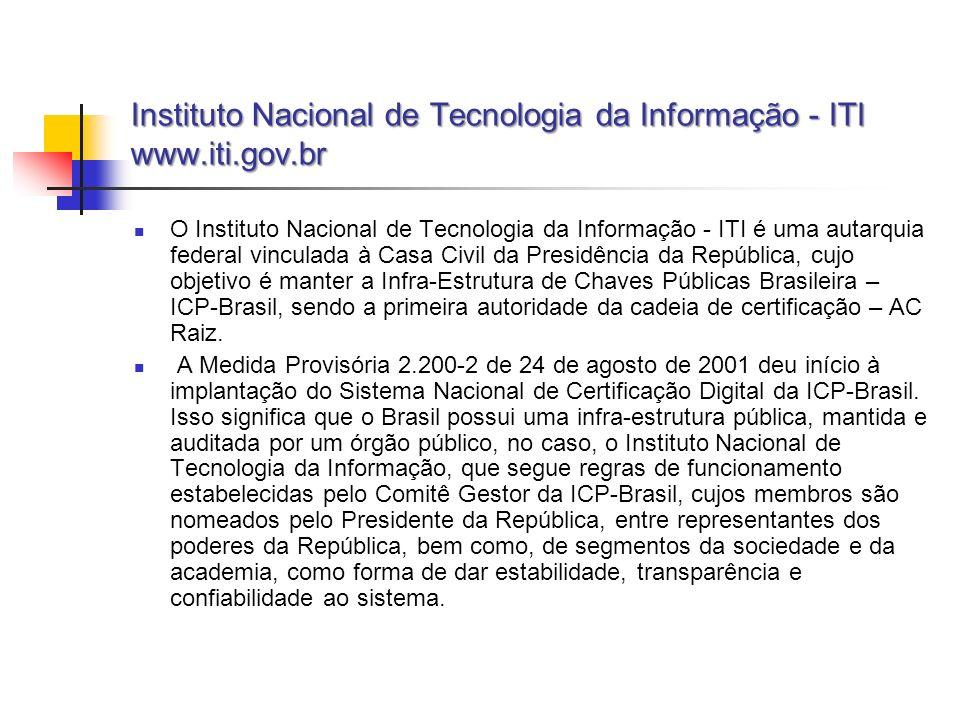 Instituto Nacional de Tecnologia da Informação - ITI www.iti.gov.br O Instituto Nacional de Tecnologia da Informação - ITI é uma autarquia federal vin