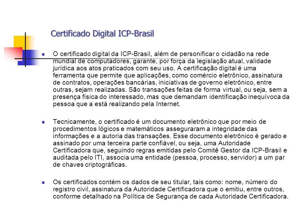 Certificado Digital ICP-Brasil Certificado Digital ICP-Brasil O certificado digital da ICP-Brasil, além de personificar o cidadão na rede mundial de c