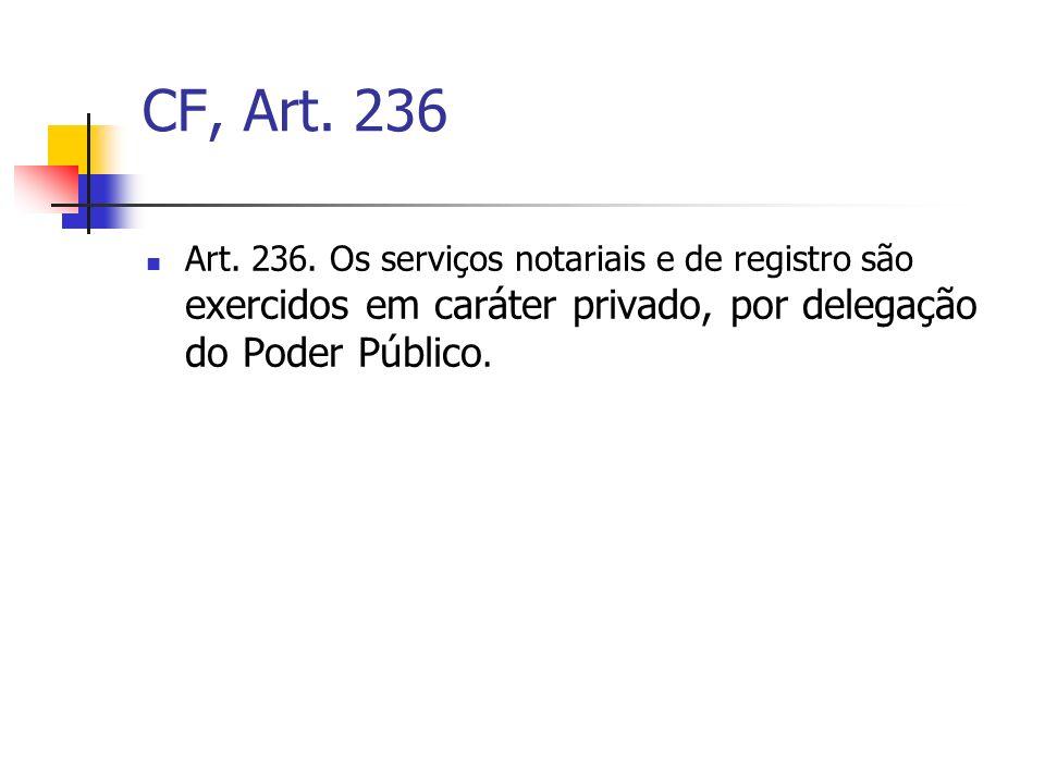 CF, Art. 236 Art. 236. Os serviços notariais e de registro são exercidos em caráter privado, por delegação do Poder Público.