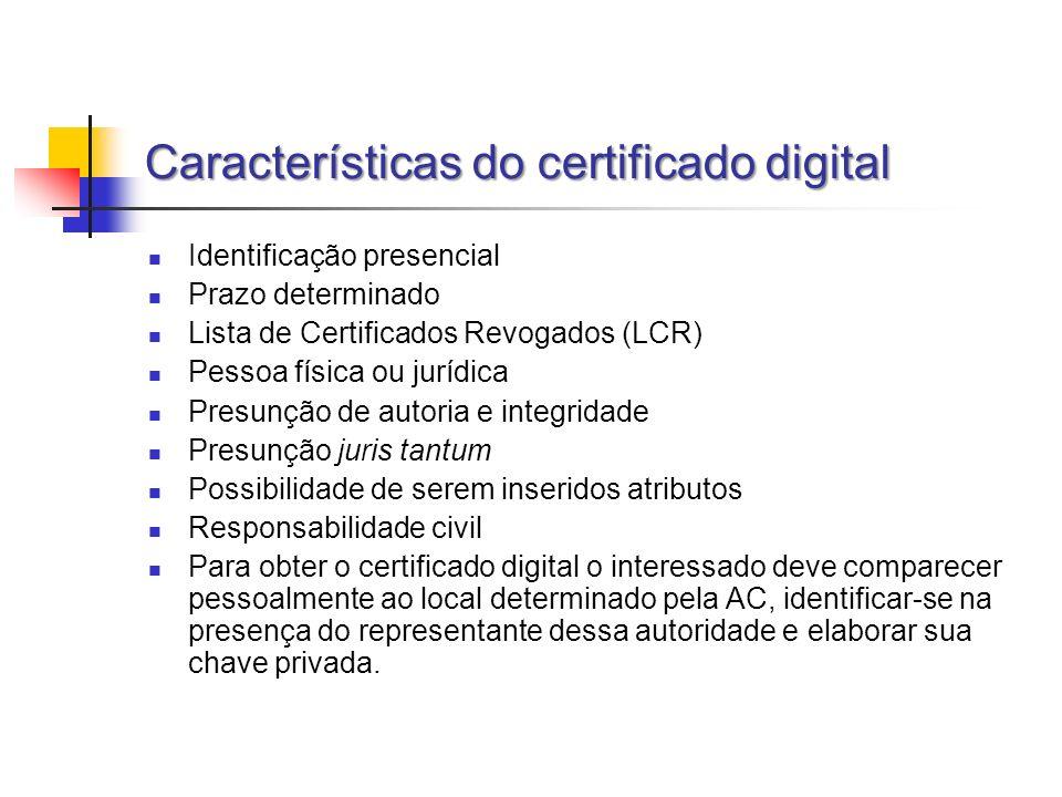 Características do certificado digital Identificação presencial Prazo determinado Lista de Certificados Revogados (LCR) Pessoa física ou jurídica Pres