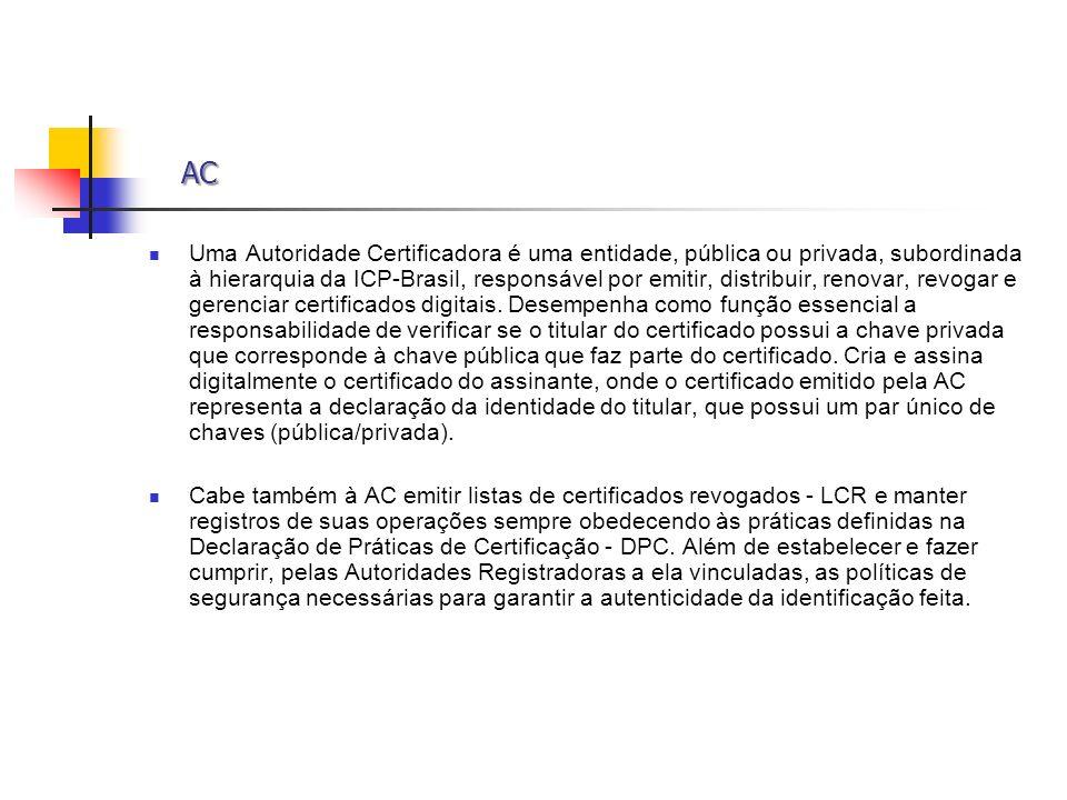 AC AC Uma Autoridade Certificadora é uma entidade, pública ou privada, subordinada à hierarquia da ICP-Brasil, responsável por emitir, distribuir, ren