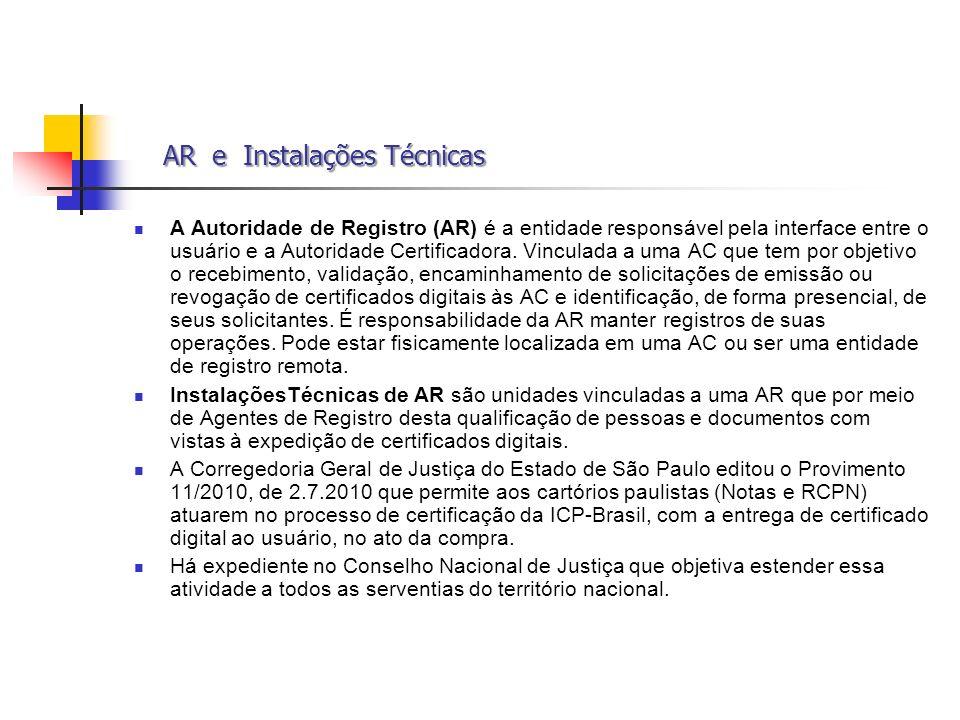AR e Instalações Técnicas AR e Instalações Técnicas A Autoridade de Registro (AR) é a entidade responsável pela interface entre o usuário e a Autorida