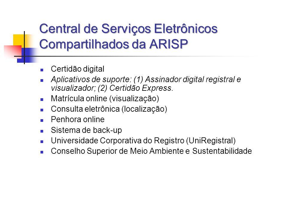 Central de Serviços Eletrônicos Compartilhados da ARISP Certidão digital Aplicativos de suporte: (1) Assinador digital registral e visualizador; (2) C