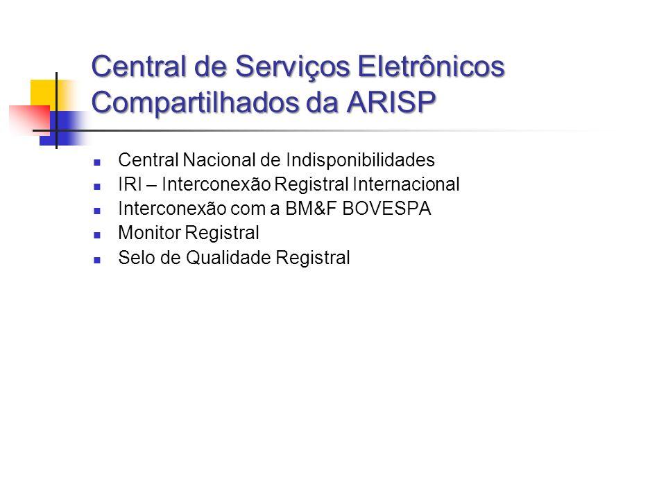Central de Serviços Eletrônicos Compartilhados da ARISP Central Nacional de Indisponibilidades IRI – Interconexão Registral Internacional Interconexão