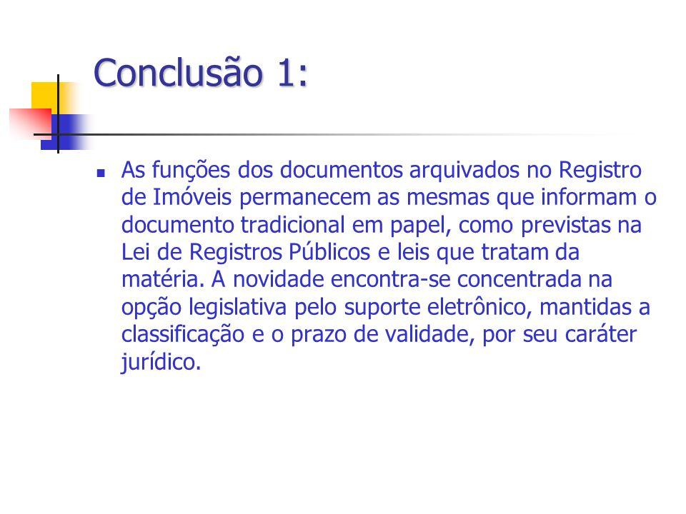 Conclusão 1: As funções dos documentos arquivados no Registro de Imóveis permanecem as mesmas que informam o documento tradicional em papel, como prev