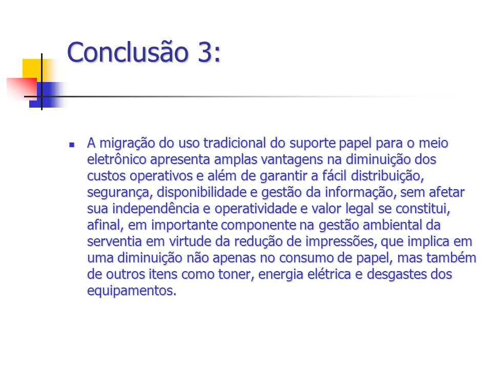 Conclusão 3: A migração do uso tradicional do suporte papel para o meio eletrônico apresenta amplas vantagens na diminuição dos custos operativos e al