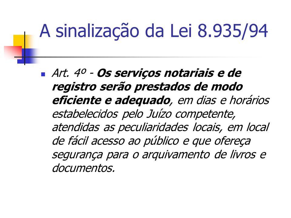 A sinalização da Lei 8.935/94 Art. 4º - Os serviços notariais e de registro serão prestados de modo eficiente e adequado, em dias e horários estabelec