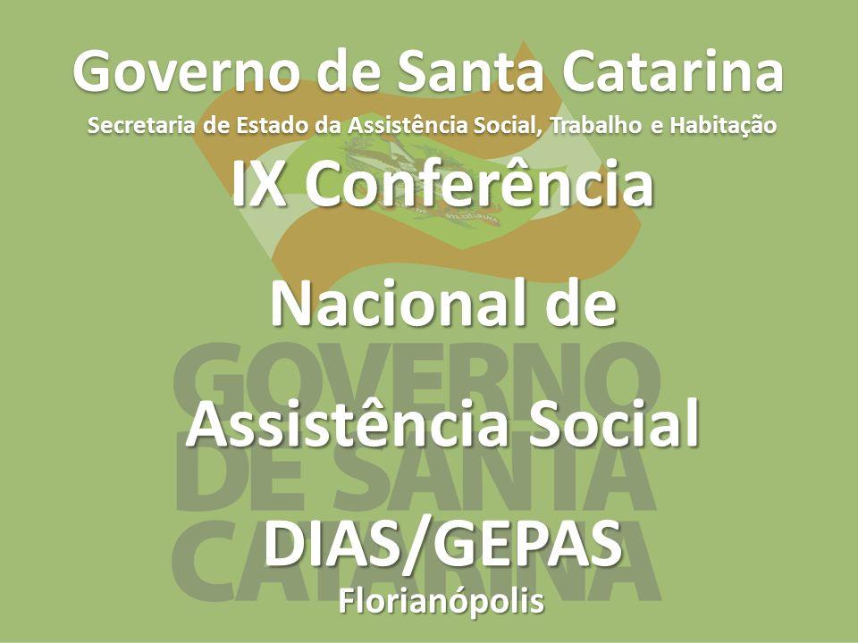 Florianópolis Governo de Santa Catarina Secretaria de Estado da Assistência Social, Trabalho e Habitação IX Conferência Nacional de Assistência Social