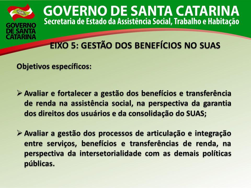 EIXO 5: GESTÃO DOS BENEFÍCIOS NO SUAS Objetivos específicos: Avaliar e fortalecer a gestão dos benefícios e transferência de renda na assistência soci