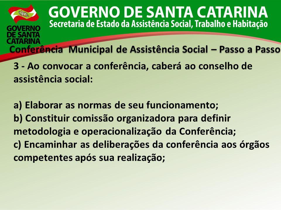 Conferência Municipal de Assistência Social – Passo a Passo 3 - Ao convocar a conferência, caberá ao conselho de assistência social: a) Elaborar as no