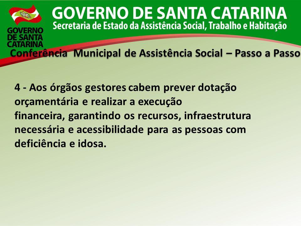 Conferência Municipal de Assistência Social – Passo a Passo 4 - Aos órgãos gestores cabem prever dotação orçamentária e realizar a execução financeira