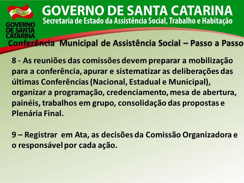 Conferência Municipal de Assistência Social – Passo a Passo 8 - As reuniões das comissões devem preparar a mobilização para a conferência, apurar e si