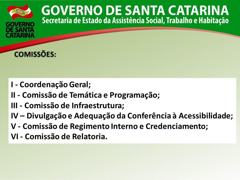 I - Coordenação Geral; II - Comissão de Temática e Programação; III - Comissão de Infraestrutura; IV – Divulgação e Adequação da Conferência à Acessib