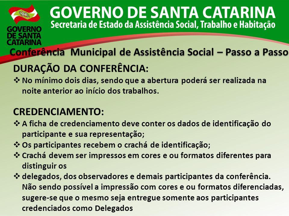 Conferência Municipal de Assistência Social – Passo a Passo DURAÇÃO DA CONFERÊNCIA: No mínimo dois dias, sendo que a abertura poderá ser realizada na