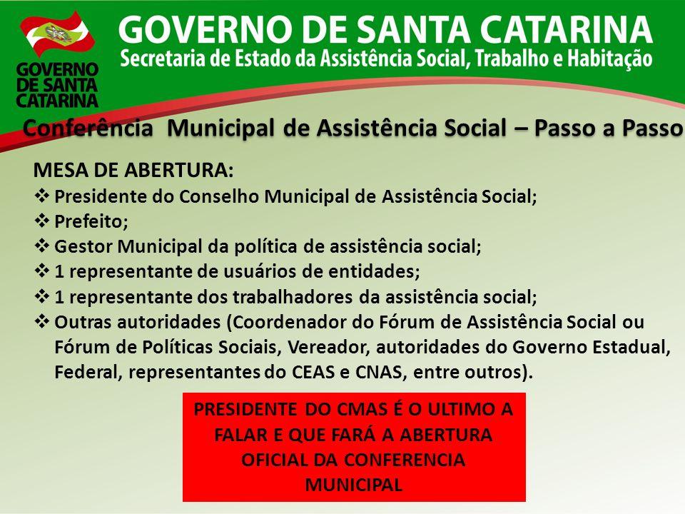 Conferência Municipal de Assistência Social – Passo a Passo MESA DE ABERTURA: Presidente do Conselho Municipal de Assistência Social; Prefeito; Gestor