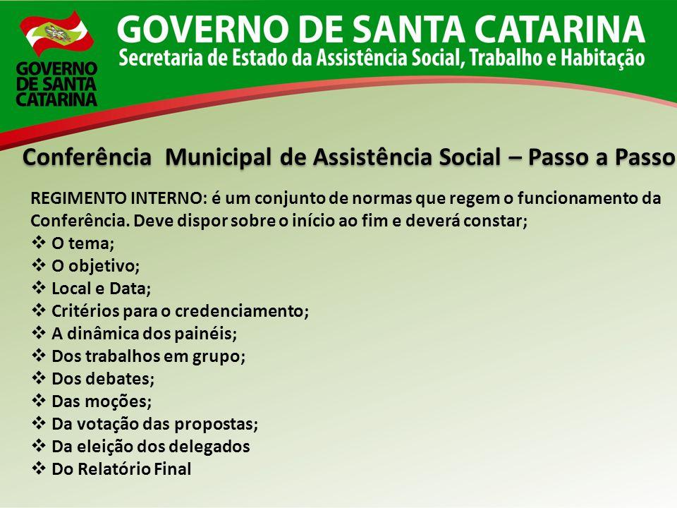 Conferência Municipal de Assistência Social – Passo a Passo REGIMENTO INTERNO: é um conjunto de normas que regem o funcionamento da Conferência. Deve