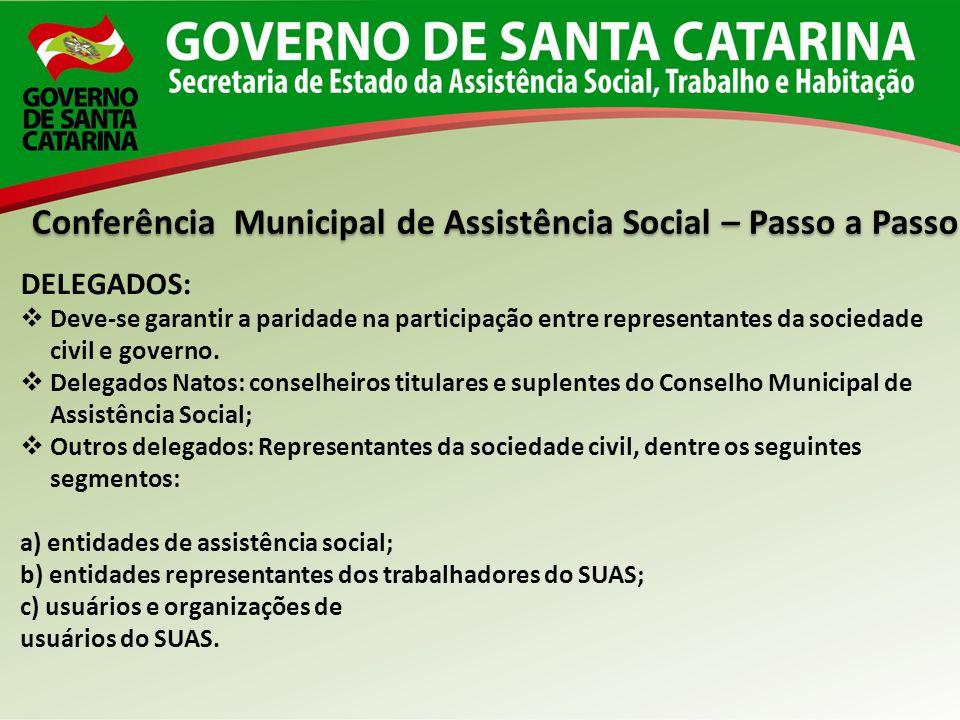 Conferência Municipal de Assistência Social – Passo a Passo DELEGADOS: Deve-se garantir a paridade na participação entre representantes da sociedade c