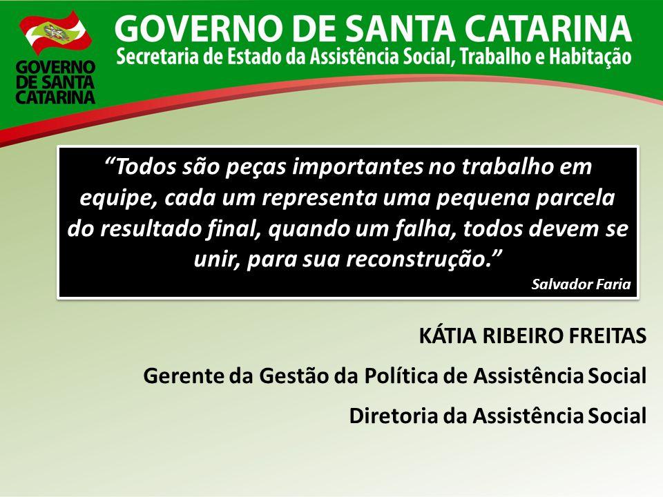 KÁTIA RIBEIRO FREITAS Gerente da Gestão da Política de Assistência Social Diretoria da Assistência Social Todos são peças importantes no trabalho em e