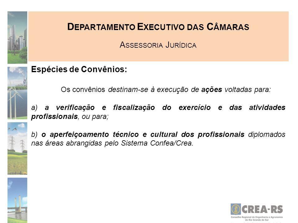 D EPARTAMENTO E XECUTIVO DAS C ÂMARAS A SSESSORIA J URÍDICA Espécies de Convênios: Os convênios destinam-se à execução de ações voltadas para: a) a ve