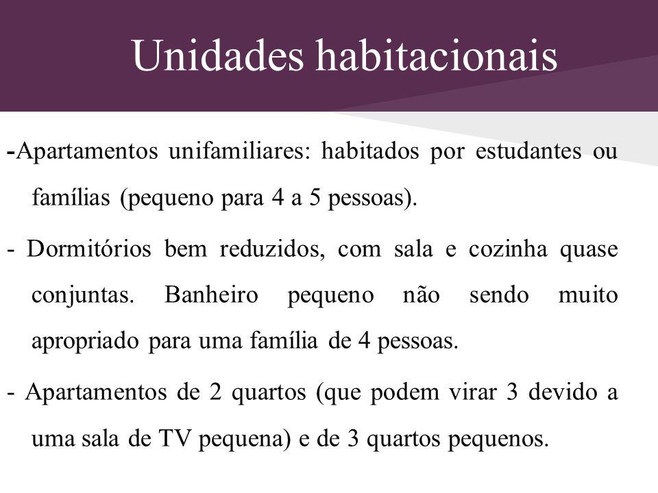 Unidades habitacionais -Apartamentos unifamiliares: habitados por estudantes ou famílias (pequeno para 4 a 5 pessoas). - Dormitórios bem reduzidos, co