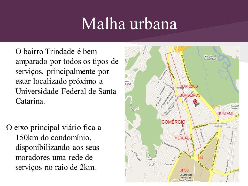 Malha urbana O bairro Trindade é bem amparado por todos os tipos de serviços, principalmente por estar localizado próximo a Universidade Federal de Sa