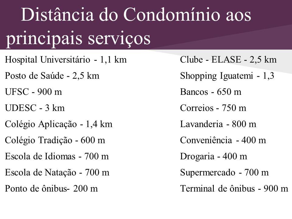 Distância do Condomínio aos principais serviços Hospital Universitário - 1,1 km Clube - ELASE - 2,5 km Posto de Saúde - 2,5 km Shopping Iguatemi - 1,3