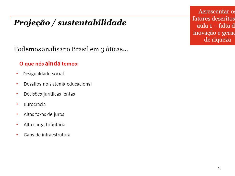 Projeção / sustentabilidade Podemos analisar o Brasil em 3 óticas... 16 O que nós ainda temos: Desigualdade social Desafios no sistema educacional Dec