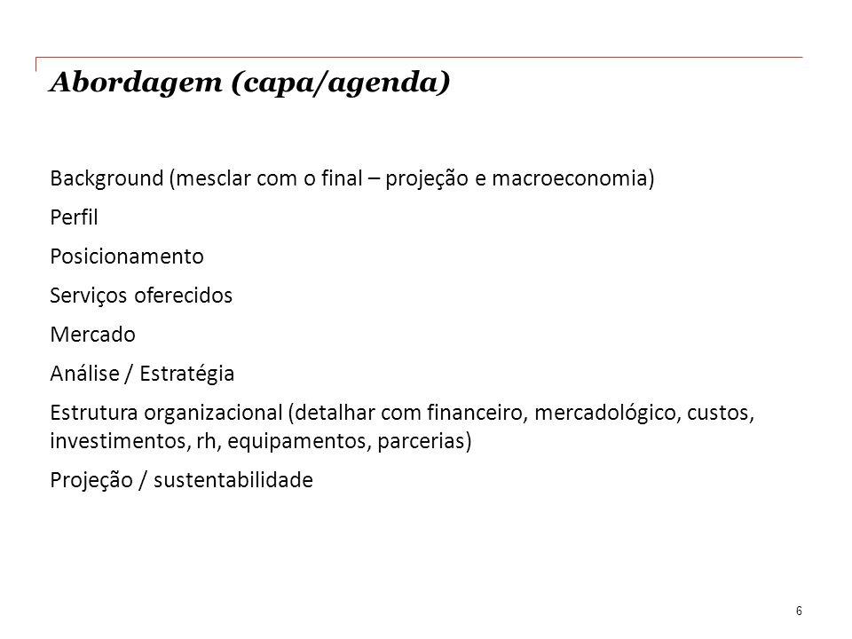 Abordagem (capa/agenda) Background (mesclar com o final – projeção e macroeconomia) Perfil Posicionamento Serviços oferecidos Mercado Análise / Estrat