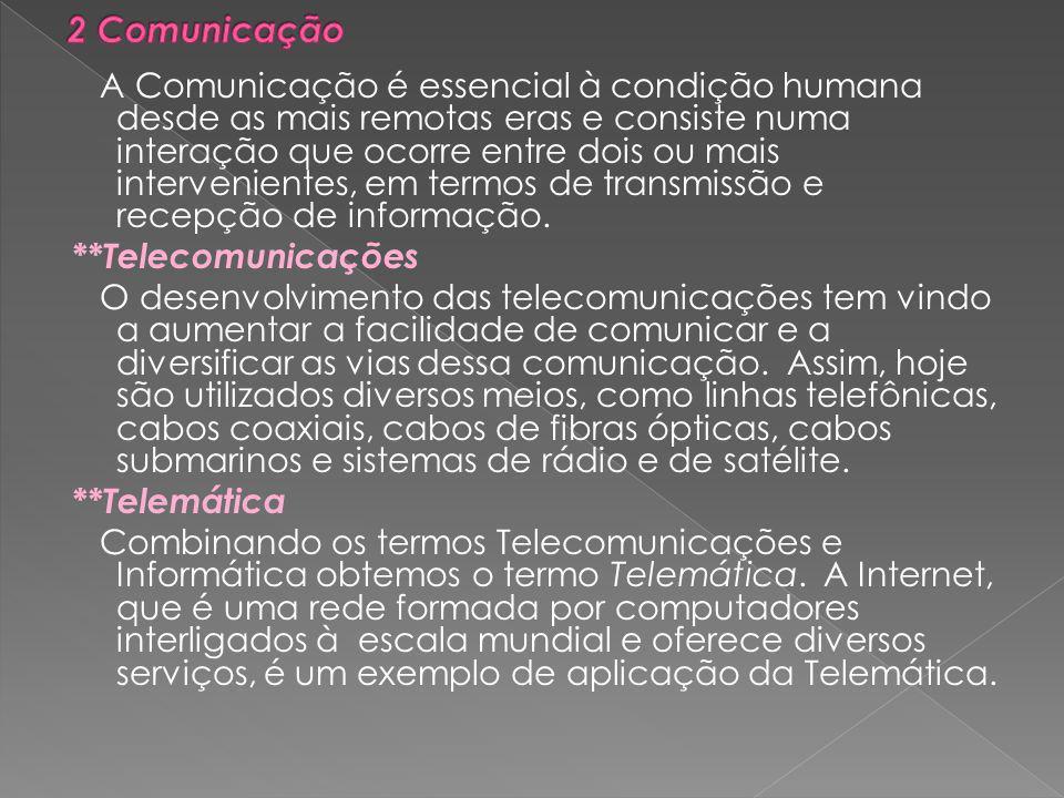 A Comunicação é essencial à condição humana desde as mais remotas eras e consiste numa interação que ocorre entre dois ou mais intervenientes, em termos de transmissão e recepção de informação.