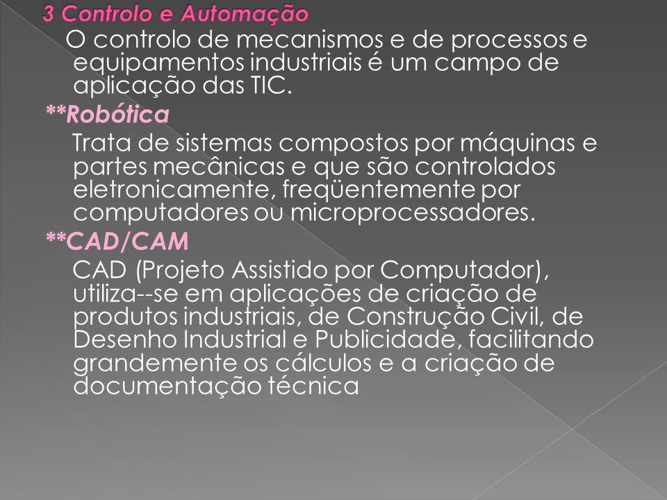 O controlo de mecanismos e de processos e equipamentos industriais é um campo de aplicação das TIC.