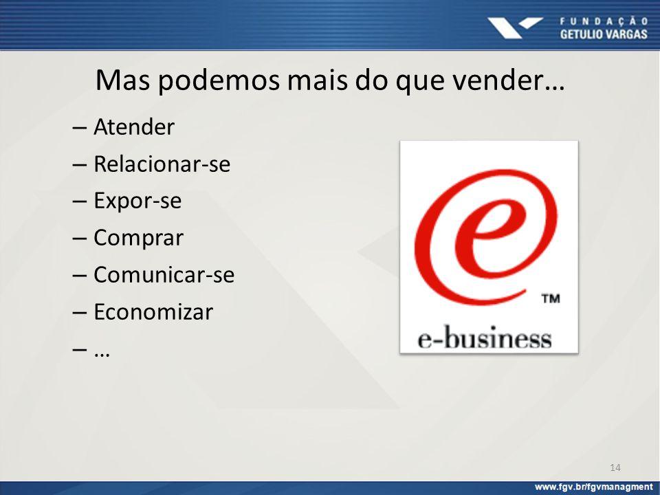 Mas podemos mais do que vender… – Atender – Relacionar-se – Expor-se – Comprar – Comunicar-se – Economizar – … 14