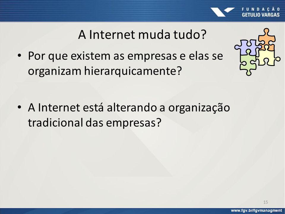 A Internet muda tudo? Por que existem as empresas e elas se organizam hierarquicamente? A Internet está alterando a organização tradicional das empres