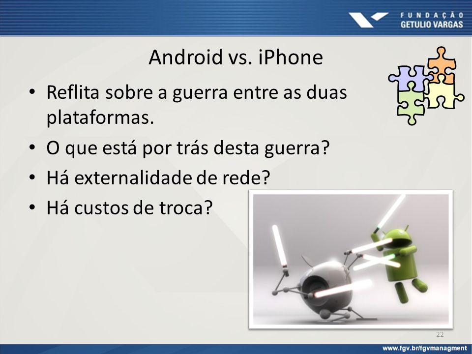 Android vs. iPhone Reflita sobre a guerra entre as duas plataformas. O que está por trás desta guerra? Há externalidade de rede? Há custos de troca? 2