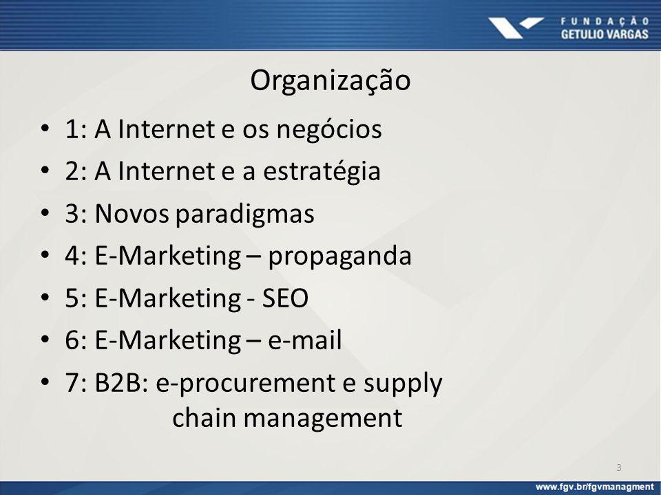 Organização 1: A Internet e os negócios 2: A Internet e a estratégia 3: Novos paradigmas 4: E-Marketing – propaganda 5: E-Marketing - SEO 6: E-Marketi
