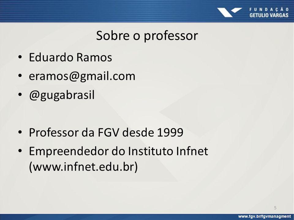 Sobre o professor Eduardo Ramos eramos@gmail.com @gugabrasil Professor da FGV desde 1999 Empreendedor do Instituto Infnet (www.infnet.edu.br) 5