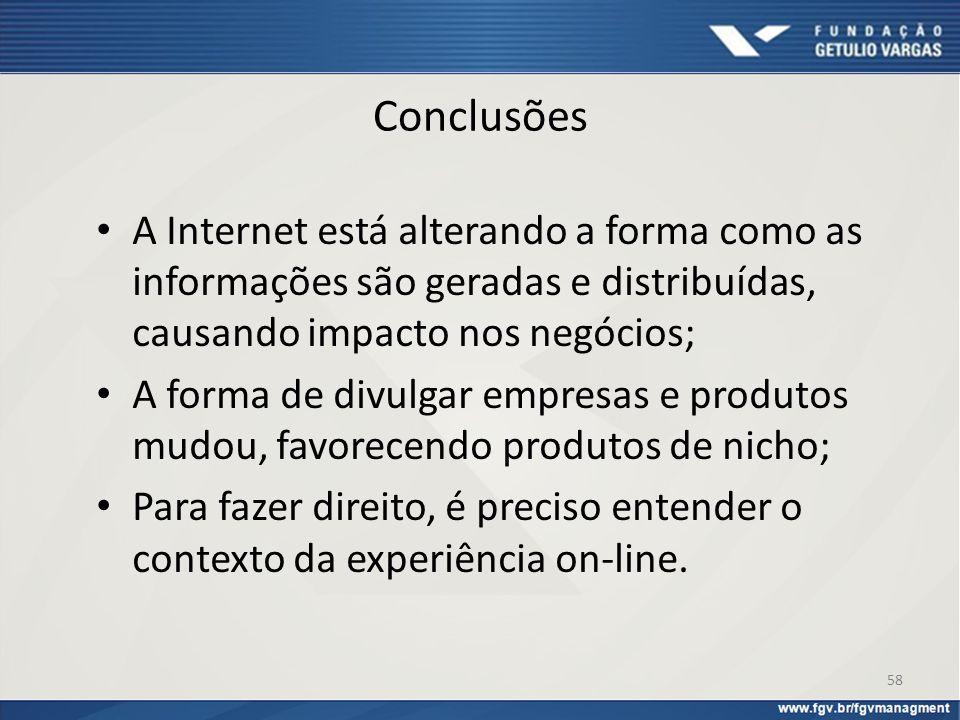 Conclusões A Internet está alterando a forma como as informações são geradas e distribuídas, causando impacto nos negócios; A forma de divulgar empres