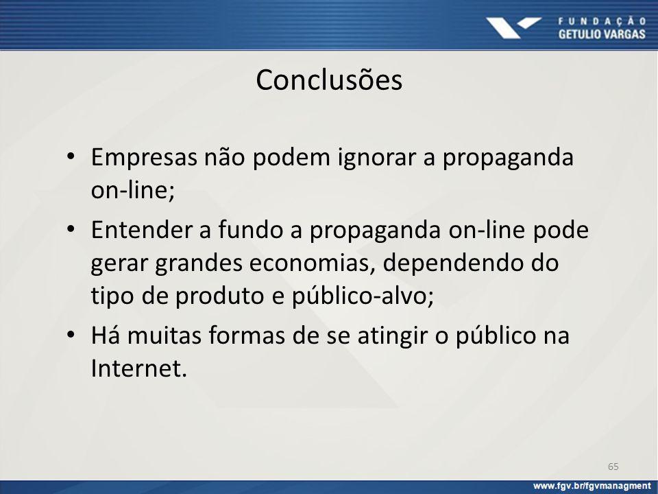 Conclusões Empresas não podem ignorar a propaganda on-line; Entender a fundo a propaganda on-line pode gerar grandes economias, dependendo do tipo de
