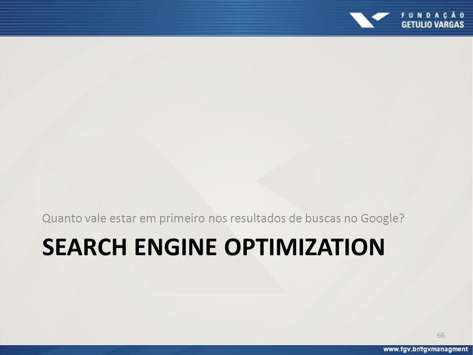 SEARCH ENGINE OPTIMIZATION Quanto vale estar em primeiro nos resultados de buscas no Google? 66