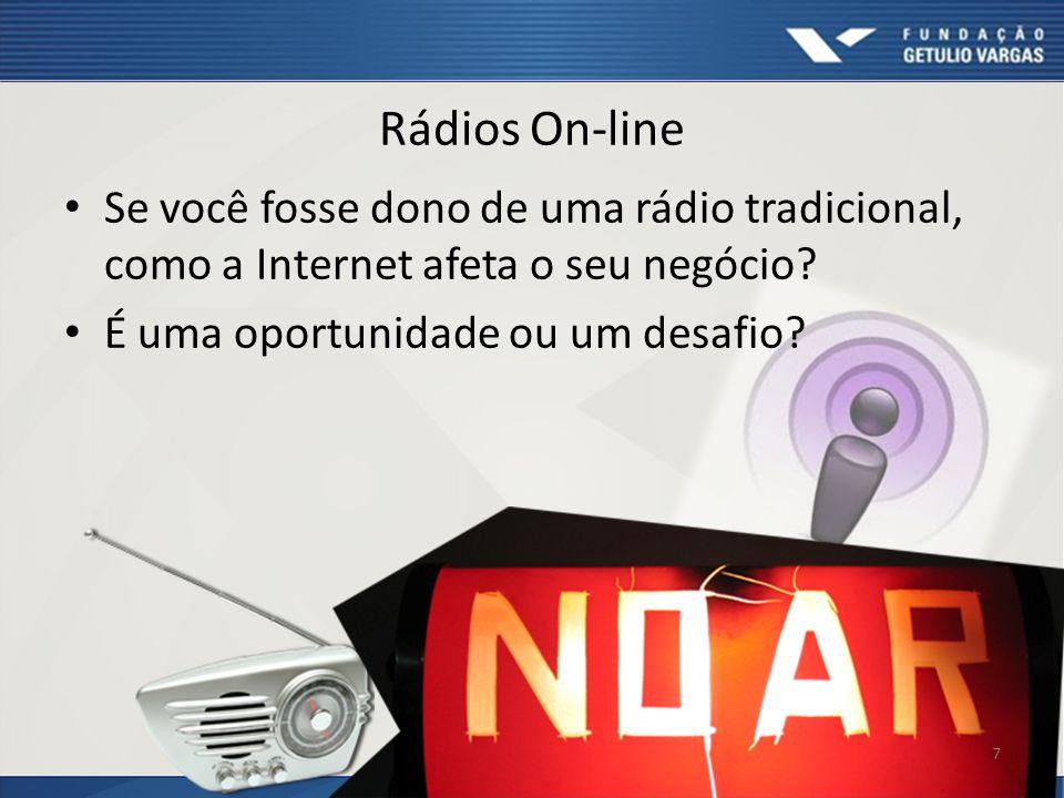 Rádios On-line Se você fosse dono de uma rádio tradicional, como a Internet afeta o seu negócio? É uma oportunidade ou um desafio? 7