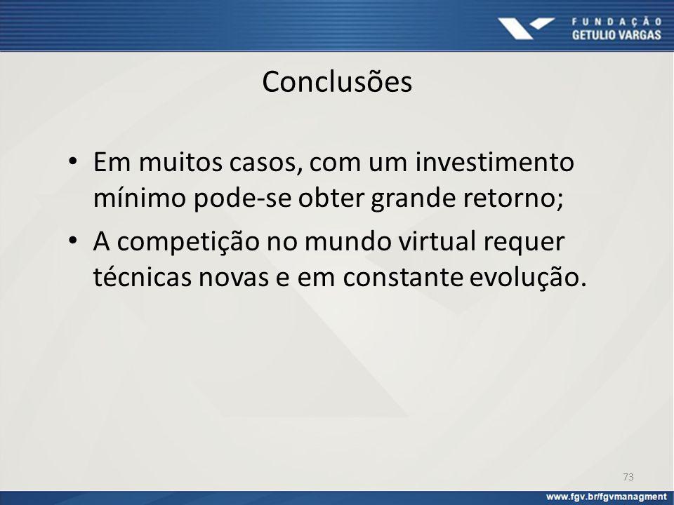 Conclusões Em muitos casos, com um investimento mínimo pode-se obter grande retorno; A competição no mundo virtual requer técnicas novas e em constant