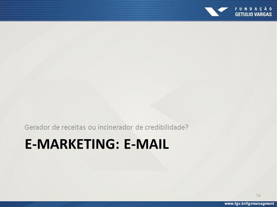 E-MARKETING: E-MAIL Gerador de receitas ou incinerador de credibilidade? 74