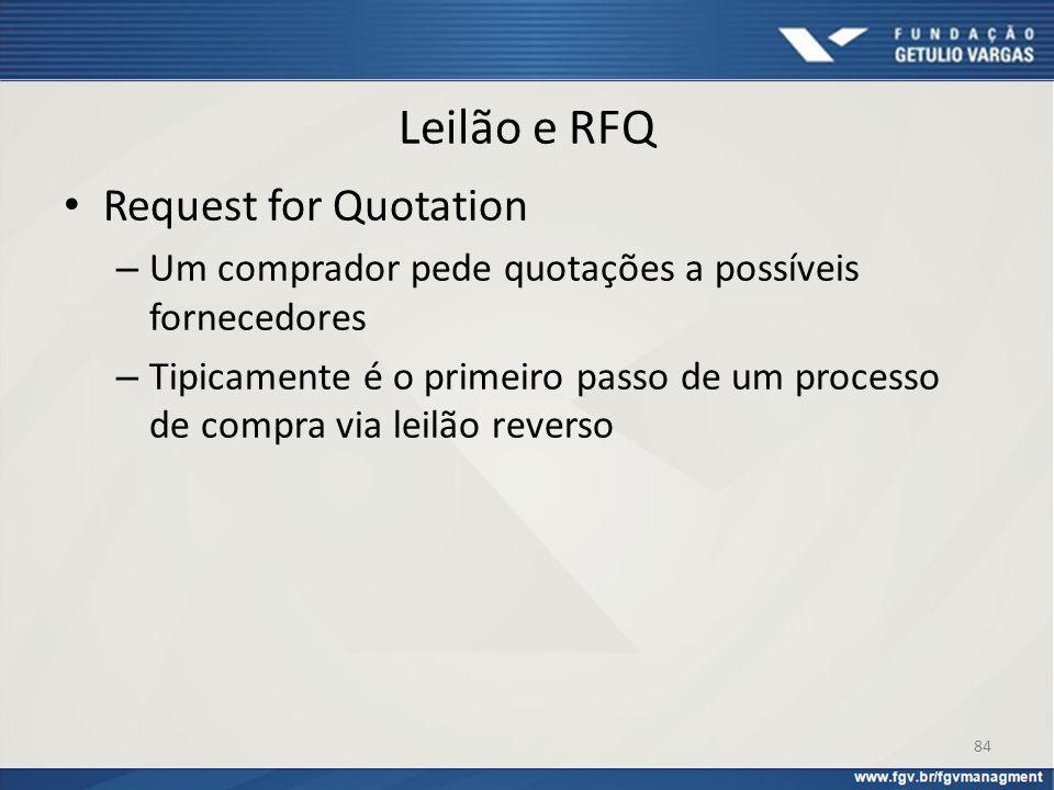 Leilão e RFQ Request for Quotation – Um comprador pede quotações a possíveis fornecedores – Tipicamente é o primeiro passo de um processo de compra vi