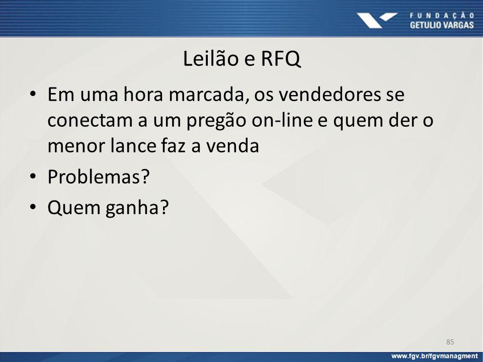 Leilão e RFQ Em uma hora marcada, os vendedores se conectam a um pregão on-line e quem der o menor lance faz a venda Problemas? Quem ganha? 85