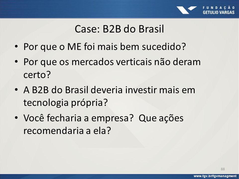 Case: B2B do Brasil Por que o ME foi mais bem sucedido? Por que os mercados verticais não deram certo? A B2B do Brasil deveria investir mais em tecnol
