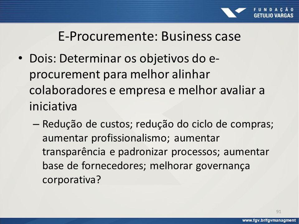 E-Procuremente: Business case Dois: Determinar os objetivos do e- procurement para melhor alinhar colaboradores e empresa e melhor avaliar a iniciativ
