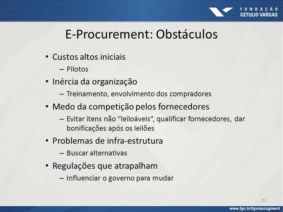 E-Procurement: Obstáculos Custos altos iniciais – Pilotos Inércia da organização – Treinamento, envolvimento dos compradores Medo da competição pelos