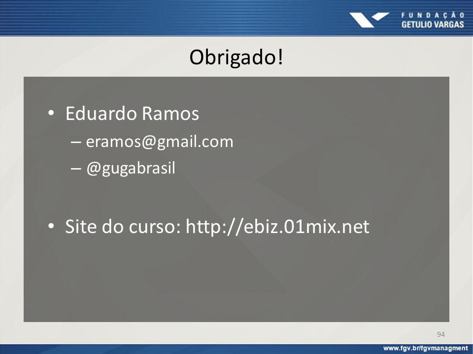 Obrigado! Eduardo Ramos – eramos@gmail.com – @gugabrasil Site do curso: http://ebiz.01mix.net 94